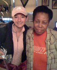 Kim Lambert with local woman