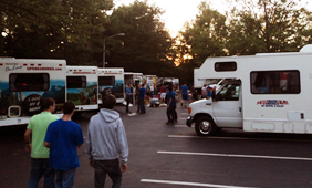 Students and trailers at Campout