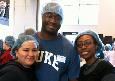 Deidre-Ann and 2 other students at volunteer event