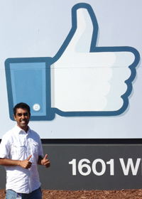 "Dipesh at the Facebook ""Like"" Sign"