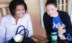 Picture of Diana and classmate Leslee at Maple View Farms