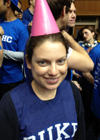Picture of Diana at the Duke/UNC game on Coach K's birthday
