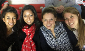 A picture of Diana and friends at the Carolina Hurricanes game
