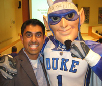 mba student with duke blue devil mascot