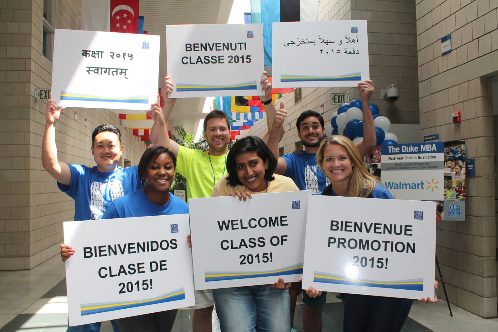 Welcoming signs to the beginning of orientation
