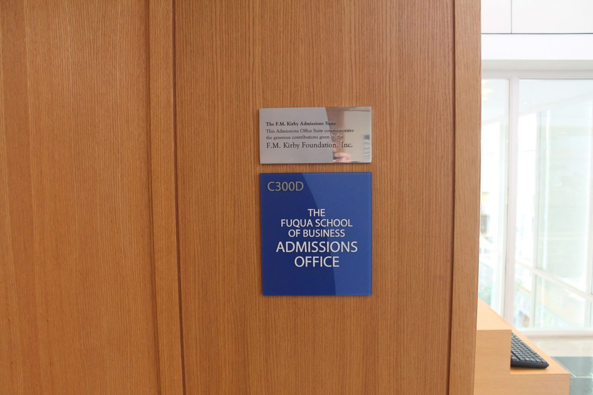 the Duke Fuqua Office of Admissions sign, why mba