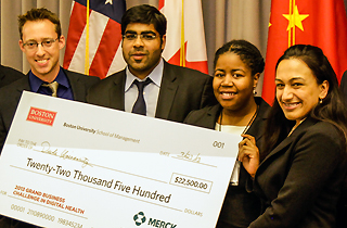 mba students with large check