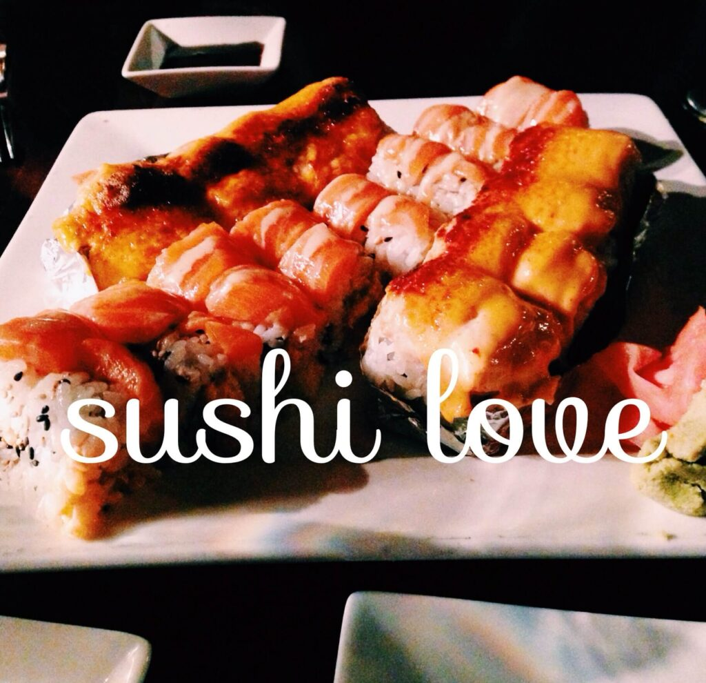 A plate of sushi from Sushi Love in Durham