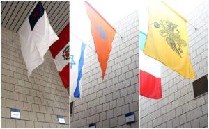 Diversity flags hanging in Fuqua mallway