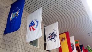 The Peace Corps flag in Fuqua's hallway - How Fuqua helps the transition from Peace Corps to an MBA at Duke