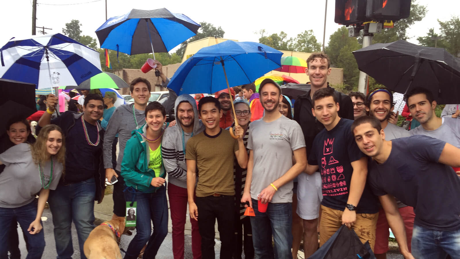 LGBT students from Fuqua's supportive MBA community gathered to watch the North Carolina Pride Parade