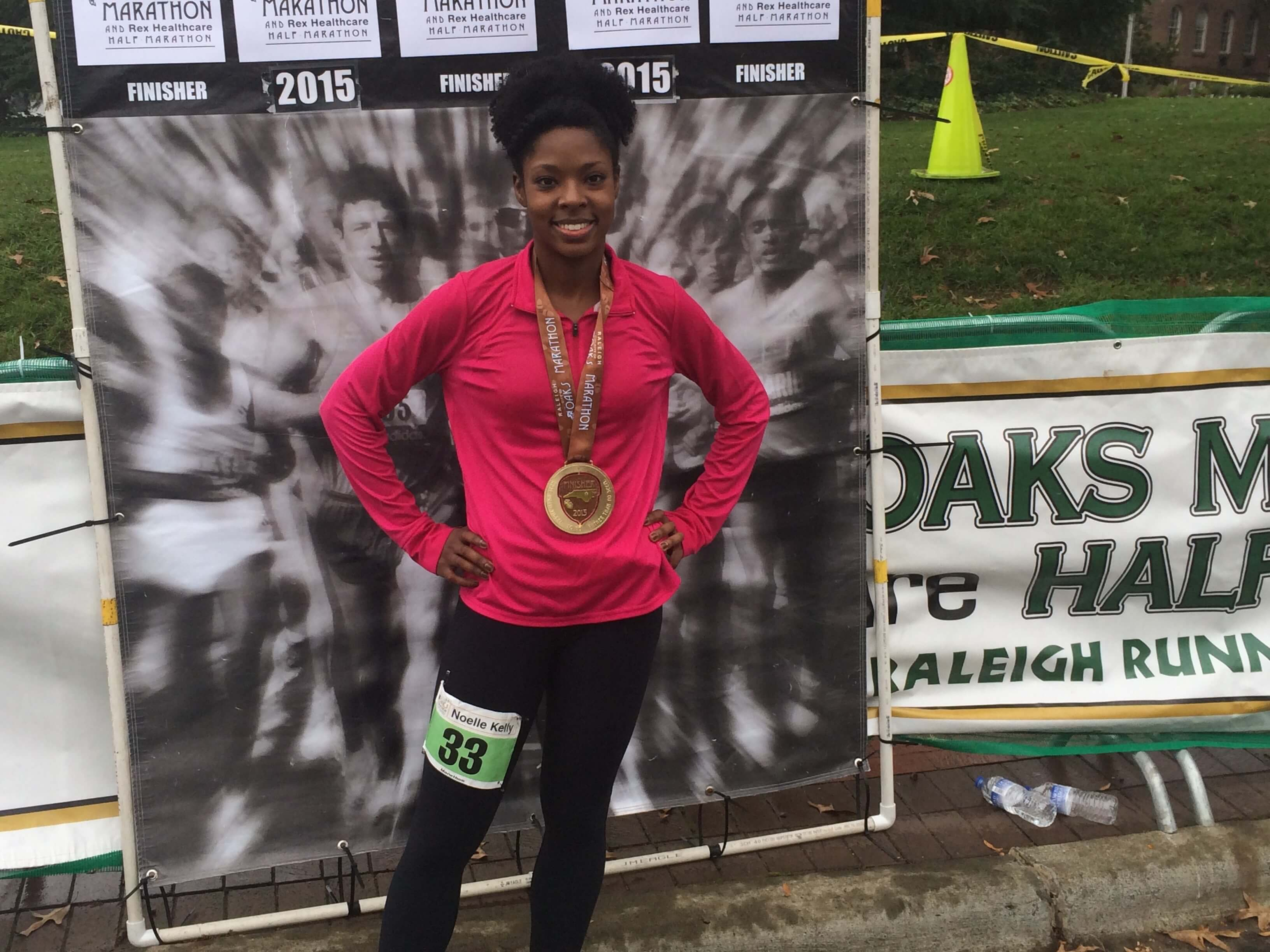 me after completing the Raleigh City of Oaks Marathon during my life at Fuqua