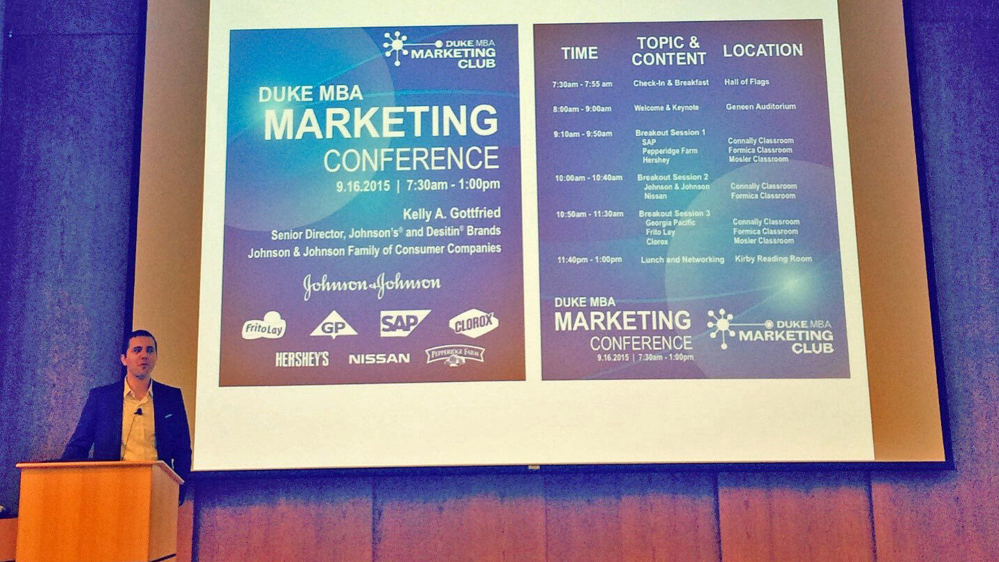 A speaker at the Duke MBA Marketing Conference during day off at Fuqua