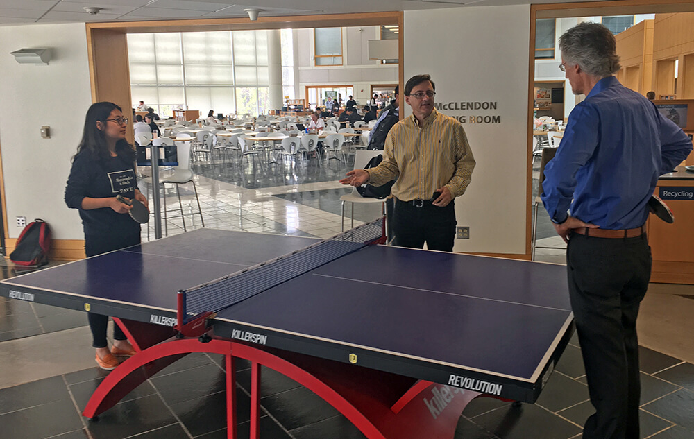 Ping pong in The Fox Center, Fuqua's social hub