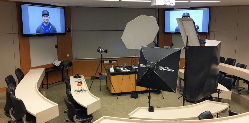 A classroom turned into a photo studio to take photos of my Fuqua classmates