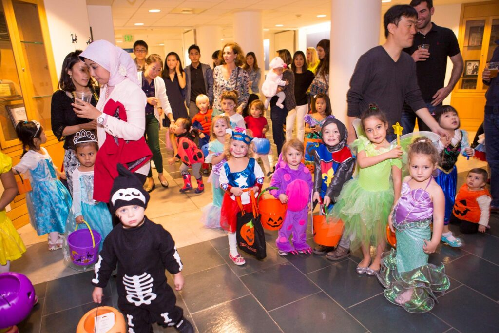 More than a dozen children dressed up for Halloween as part of a Fuqua Families trick or treat event