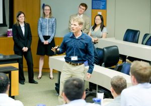 a group presentation at HSM Bootcamp is part of leadership growth at Fuqua
