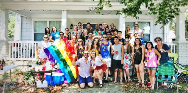 FuquaPride members and allies gather to watch the NC Pride Parade, one of the reasons why Duke and Durham are great places for LGBT students
