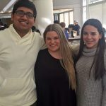 Tushar, Melissa and Nicole in the Fox Center, they share their Fuqua experience
