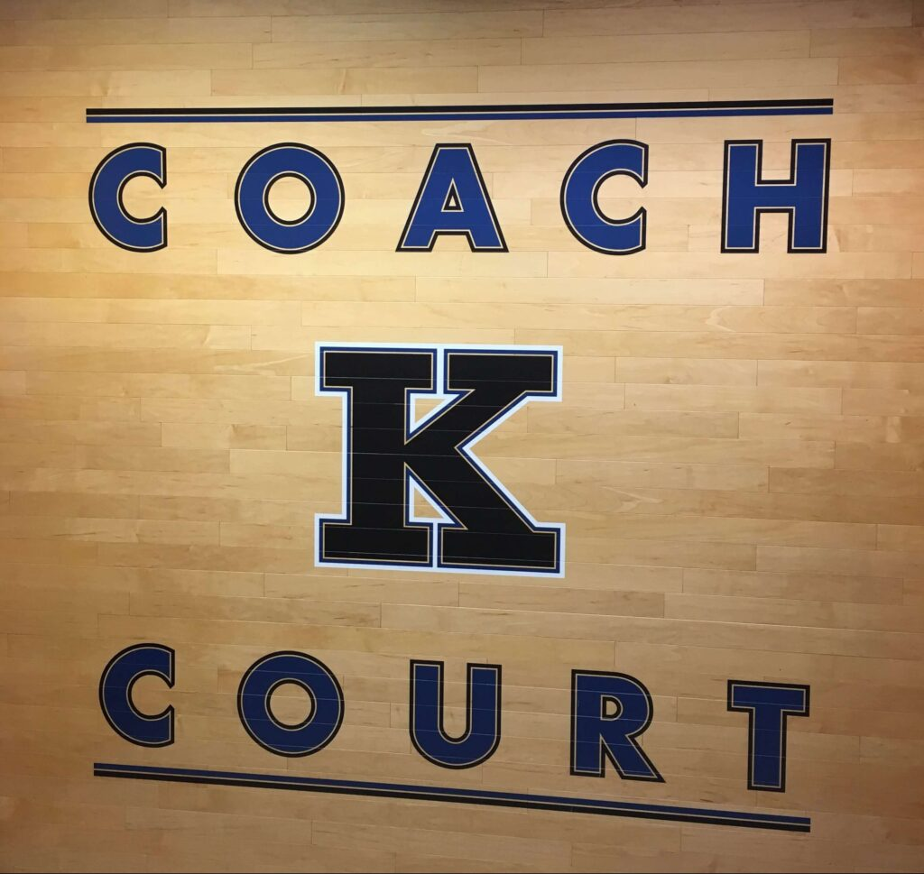 "Sign of ""Coach K Court"""