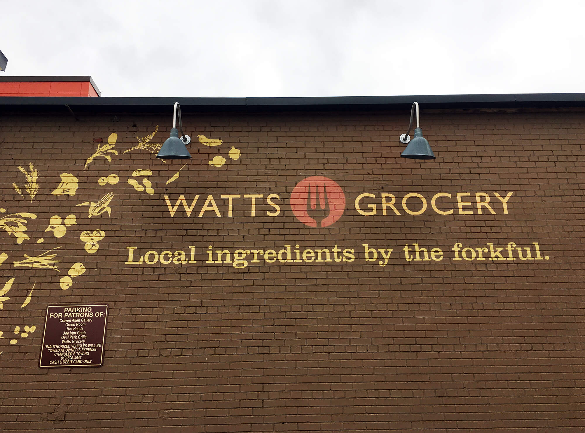 Watts Grocery signage, a great place for dining in Durham