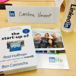 Name tag, water bottle, and other items from Day 1 of Caroline's LinkedIn internship
