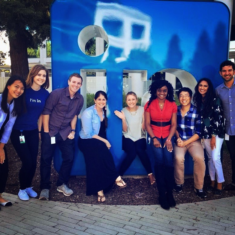 interns posing in front of a LinkedIn sign, part of my LinkedIn internship