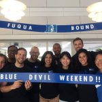 student volunteers welcoming those attending Blue Devil Weekend