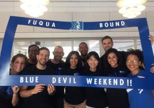 student volunteers welcoming those attending Blue Devil Weekend