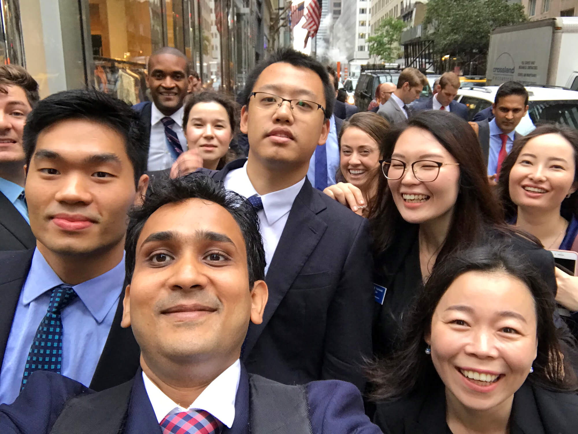 students in New York city for corporate visits and networking, part of life at a business school in the U.S.