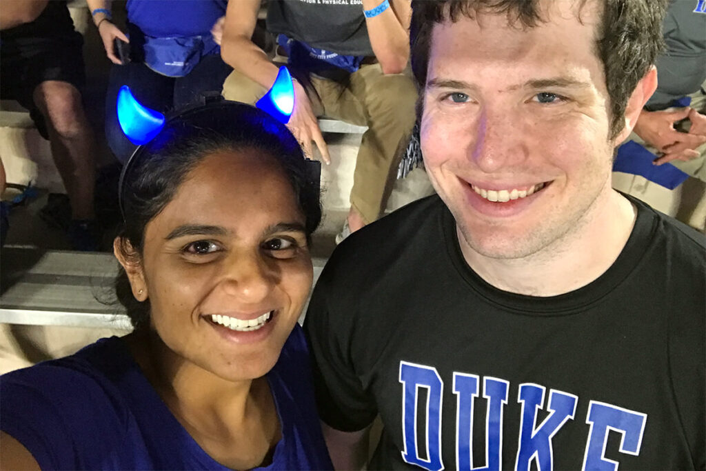Students at a Duke Basketball game