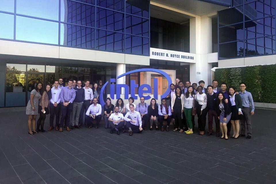 Dozens of students on Tech Trek outside of Intel