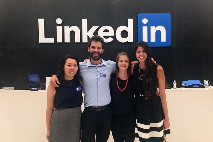 Students on Tech Trek posing inside LinkedIn