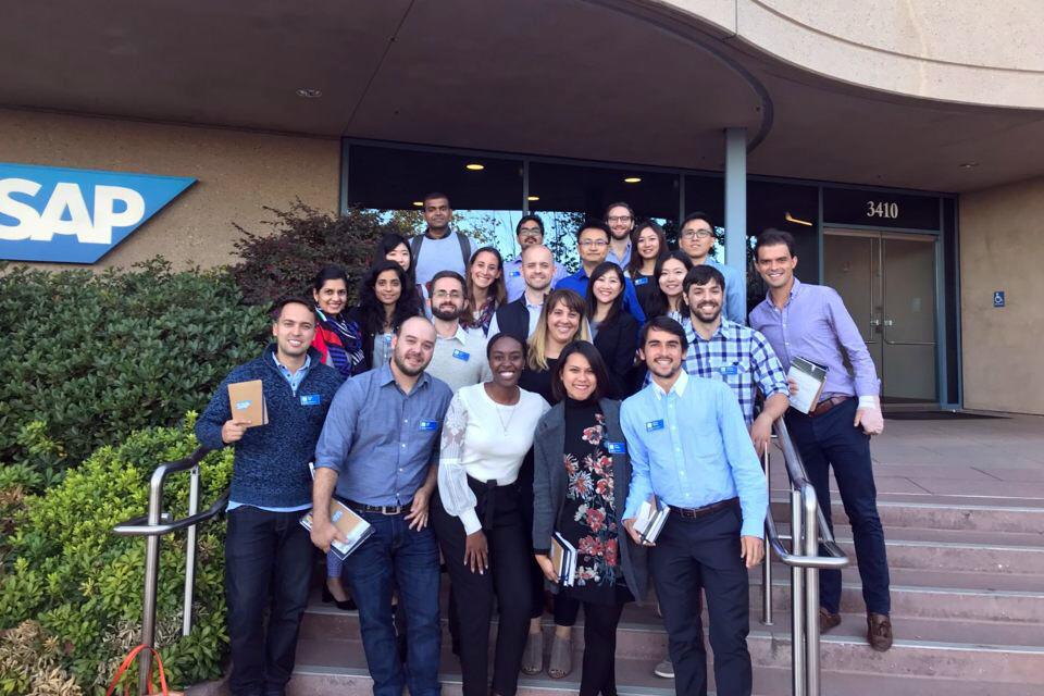 Students on Tech Trek pose outside SAP