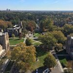 looking down from the top of Duke Chapel at part of campus while exploring the Duke community beyond Fuqua
