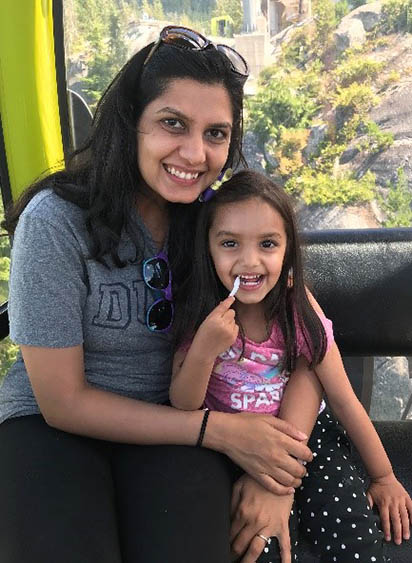 Swati and her daughter, moms pursuing MBAs at Fuqua