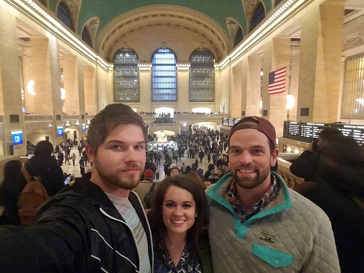 the trio posing for a selfie in Grand Central Station, one of my favorite Fuqua memories