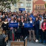 At least 50 members of the Fuqua community gather for a group photo in San Francisco at the Fuqua Around the World 2019 event