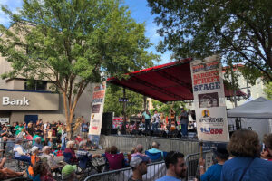 local music scene: an outdoor stage at the bluegrass festival in Raleigh
