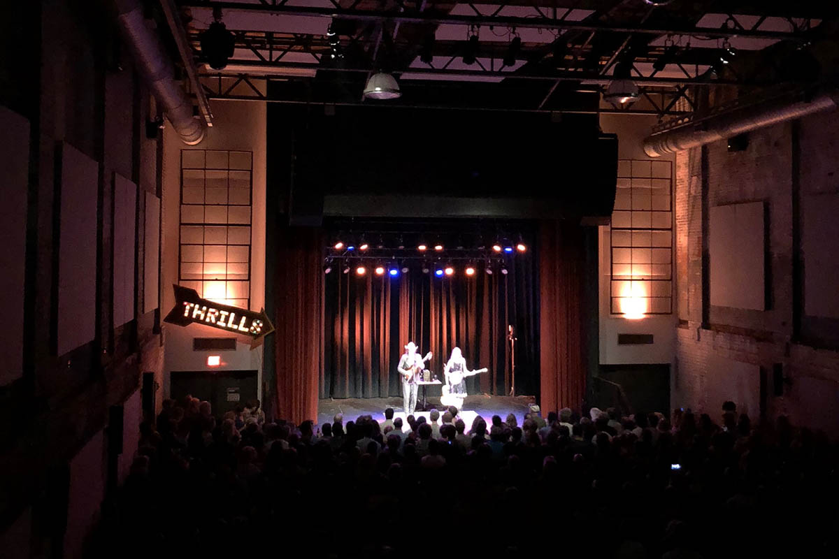 local music scene: a duo on stage in a music hall