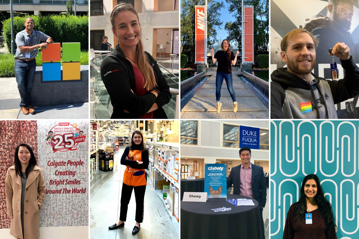 a collage of 8 photos, each with the alumnus posing with the hiring company's swag or signage
