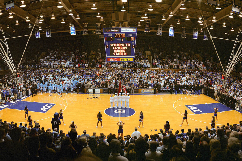 A wide shot of the court and crowd in attendance for a Duke-UNC rivalry game