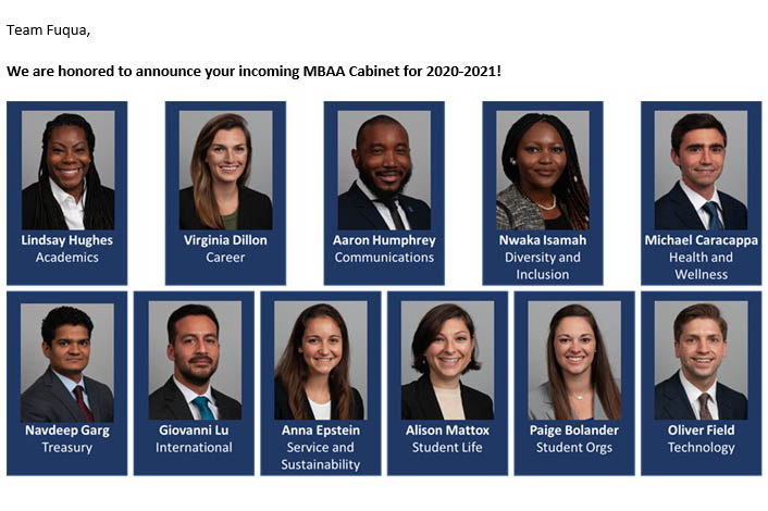the student photos of the 11 members of the MBAA cabinet
