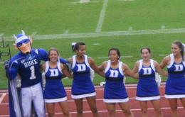 Blue Devil and Cheerleaders