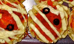 English muffins decorated like mummies