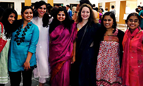 students at diwali festival