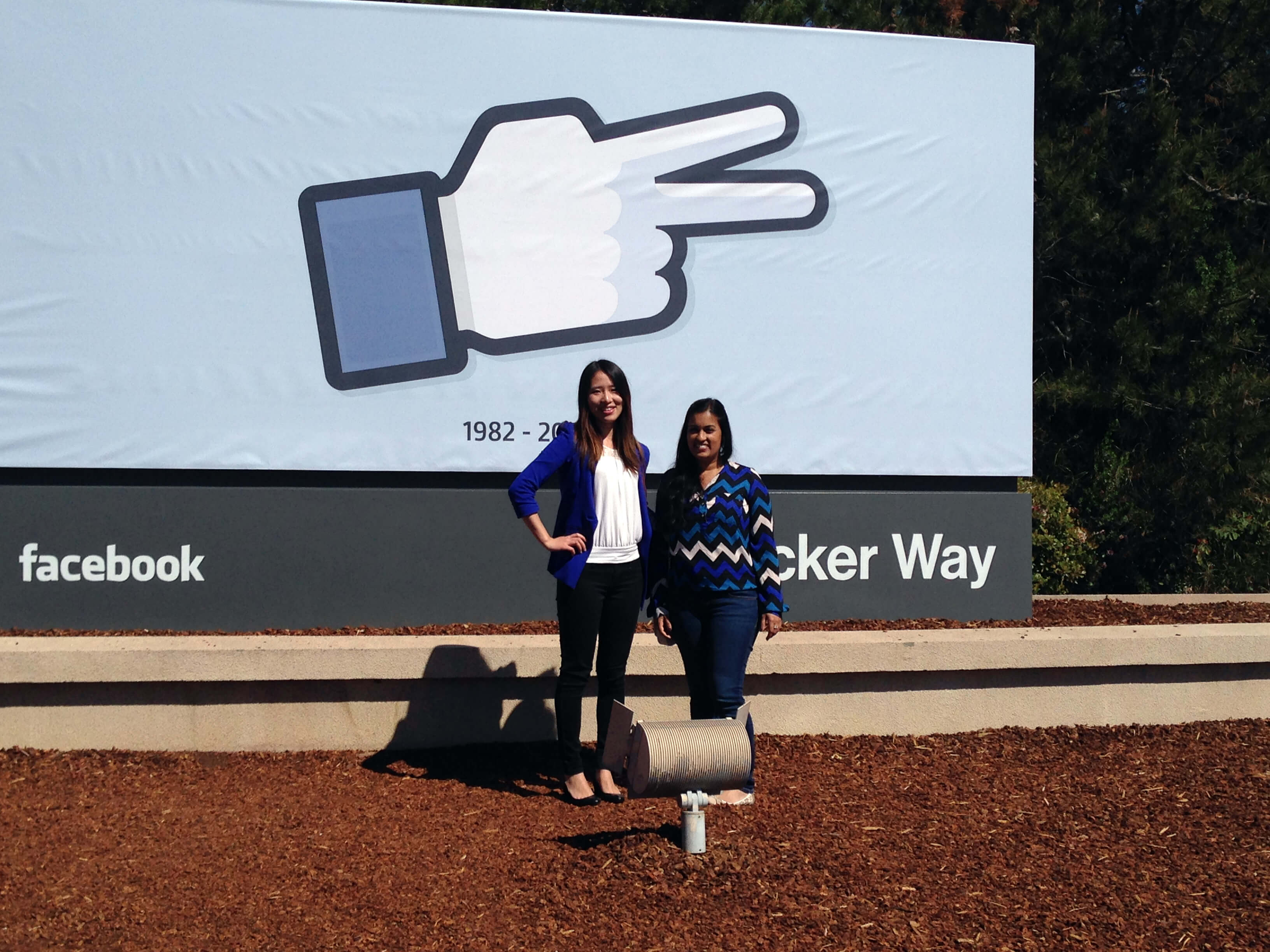 Students outside Facebook Headquarters