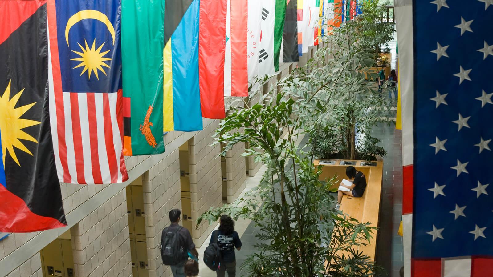 International flags in the halls of Duke Fuqua