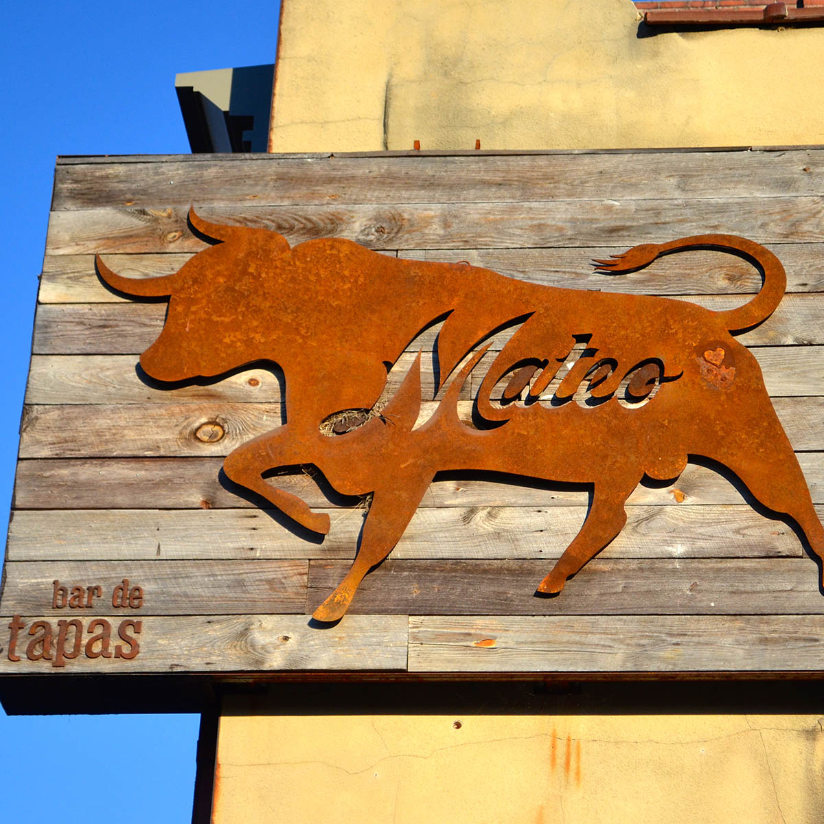 the marquee sign at Mateo Tapas, one of the best restaurants in Durham