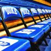 the team's bench chairs in Cameron Indoor Stadium, scenes of basketball at Duke